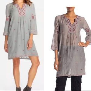 Johnny Was Ava Flare Sleeve Tunic Dress Cement